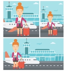 Woman with suitcase and ticket at the airport vector