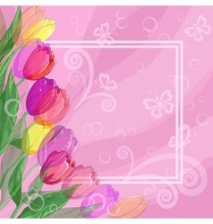 Background flowers tulips and frame vector image vector image