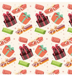 Background with colorful gift boxes seamless vector image vector image