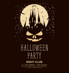 banner for halloween with old gothic castle vector image