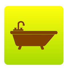 Bathtub sign brown icon at vector