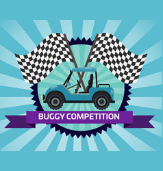 buggy rally competition banner with checkered flag vector image