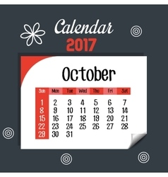 Calendar october 2017 template icon vector