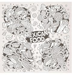 Cartoon set of mexican food doodle designs vector