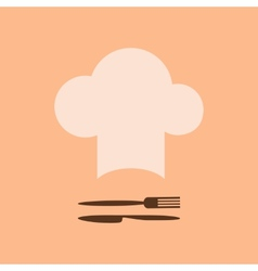 Chef hat and fork with knife vector