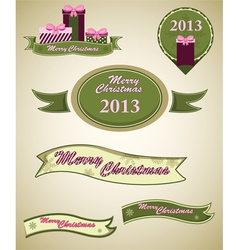 Christmas retro emblems vector image vector image