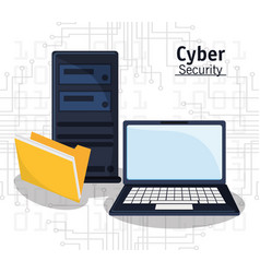 Cyber security technology file folder vector