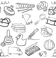 Doodle toys seamless pattern vector
