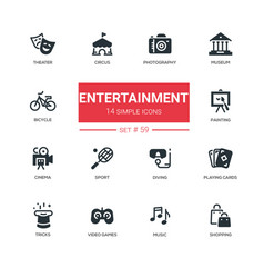 entertainment - line design icons set vector image vector image