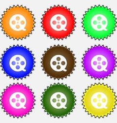 Film icon sign A set of nine different colored vector image