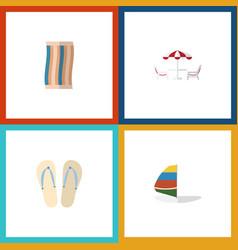 Flat icon season set of wiper surfing beach vector