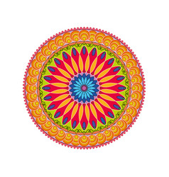 geometric ornament colorful card with mandala vector image