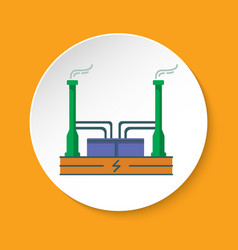 Geothermal power plant icon in flat style on round vector