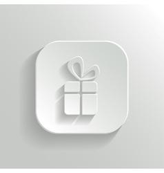 Gift icon - white app button vector image vector image
