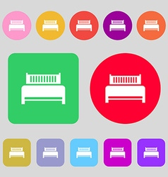 Hotel bed icon sign 12 colored buttons Flat design vector image vector image