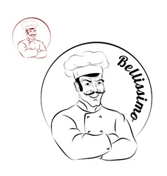 Italian chef logo for restaurant bellissimo sign vector