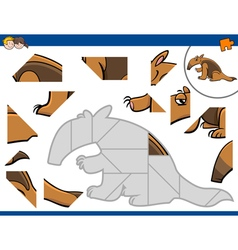 Jigsaw puzzle with anteater vector
