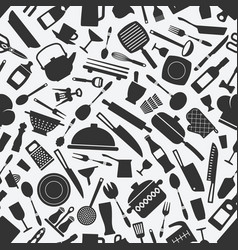 Kitchen cookware monochrome seamless pattern vector