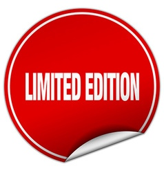 Limited edition round red sticker isolated on vector