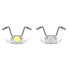 Motorcycle steering wheel 2 emblems vector