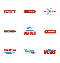 News story icons set flat style vector