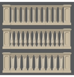 Outdoor and park elements balustrade set of vector image