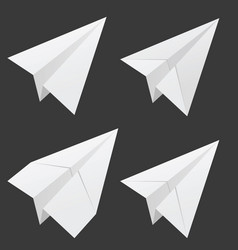 Paper airplane set in white vector