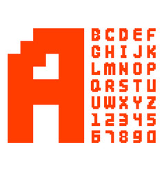 Pixel retro font red computer game design 8 bit vector