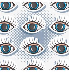 pop art eyes patch background design vector image