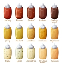 Sauces set Ketchup mustard harissa cocktail vector image