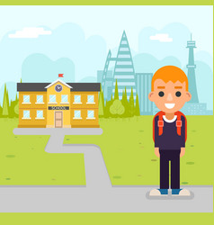 School boy pupil education building student vector