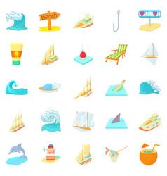 Seafaring icons set cartoon style vector