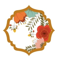 silhouette heraldic decorative frame with flowers vector image