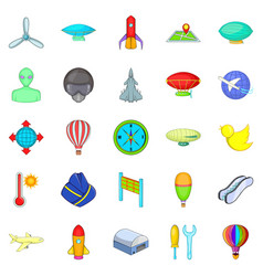 Space flight icons set cartoon style vector