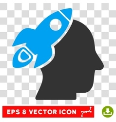 Space rocket thinking head eps icon vector