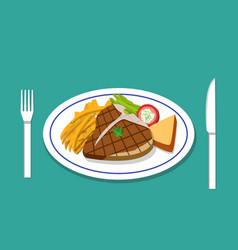 T-bone steak and french fries on dish vector