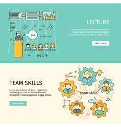 Team skills and business lecture banners vector