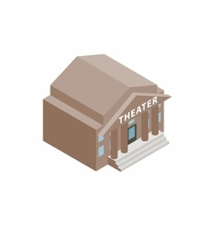 Theatre building icon in isometric 3d style vector