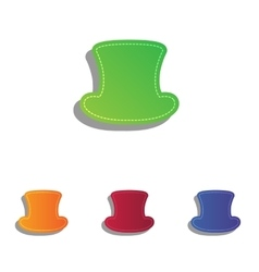 Top hat sign colorfull applique icons set vector