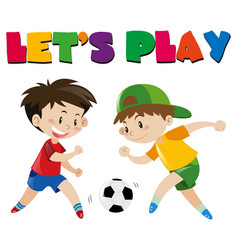two boys playing football vector image