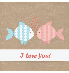 Valentine card fish Kraft paper vector image vector image