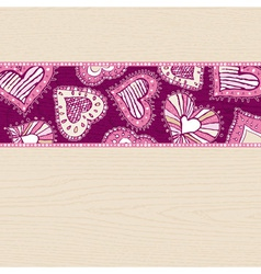 valentines background with hand draw hearts vector image