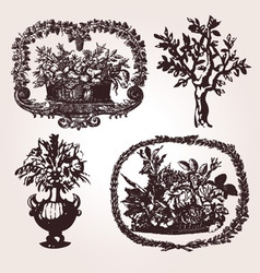 Vintage engraved vector image vector image