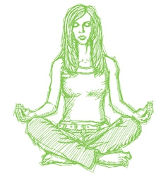 woman meditation lotus pose vector image vector image