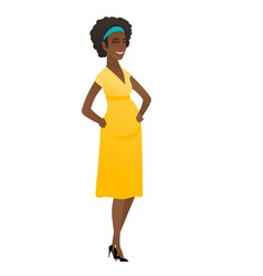Young african-american pregnant woman laughing vector
