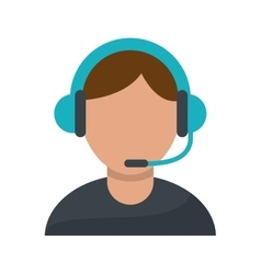 Isolated operator man with headphone design vector