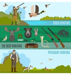 Colorful hunting banners vector