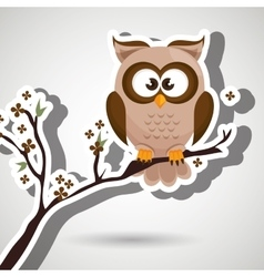 Owl brown tree leaves brown vector