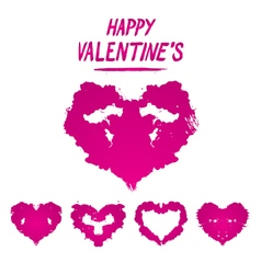Happy Valentines postcard Rorschach test style vector image