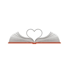 Color silhouette with open book with sheets in vector